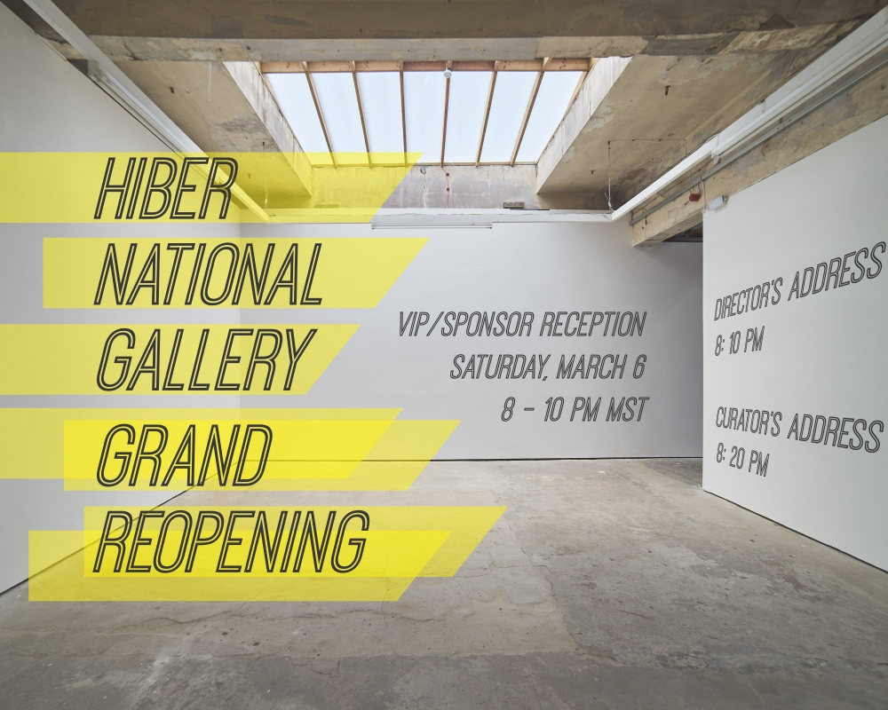 Week 6 of 12: grand reopening of the Hiber National Gallery  Solo exhibitions by Brandon Dalmer, Chris Foster, Damian Espinosa, Luba Diduch, Michelle Murphy, Vicki Chau, and Wayne Garrett.  Gallery Director: Eric Heitmann Head Curator: Caitlind Brown